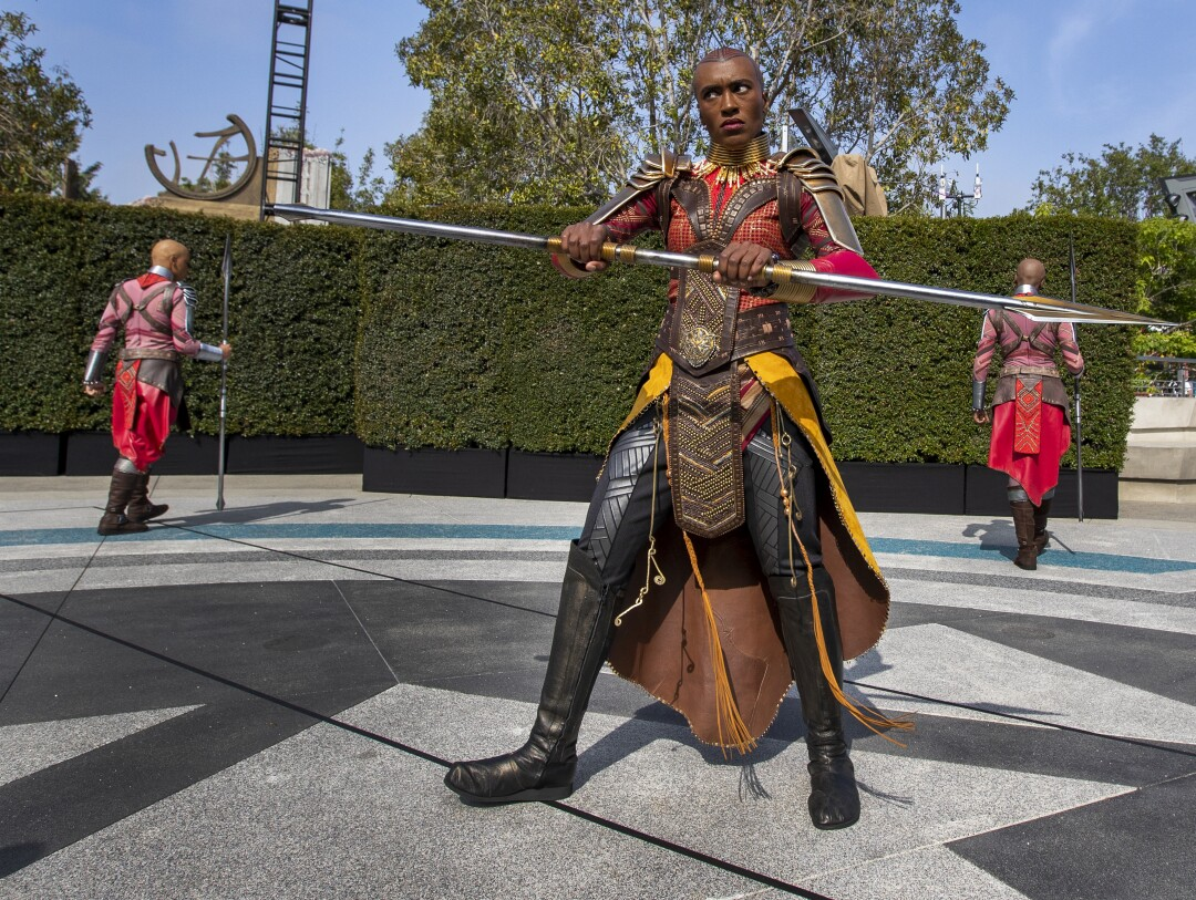 Dora Milaje perform during a media preview of Avengers Campus at California Adventure