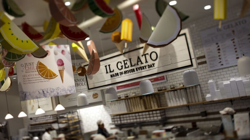 Il Gelato inside Eataly, at the Westfield Century City mall. With stores for buying produce and products from Italy, Eataly also has multiple restaurants, including Terra, a rooftop bar and restaurant.