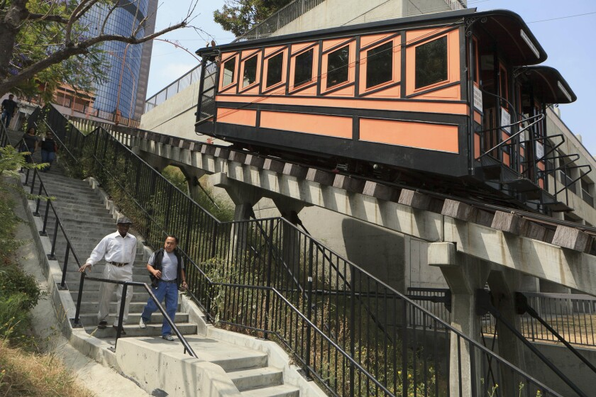 The historic Angels Flight, a hillside railway in downtown Los Angeles.
