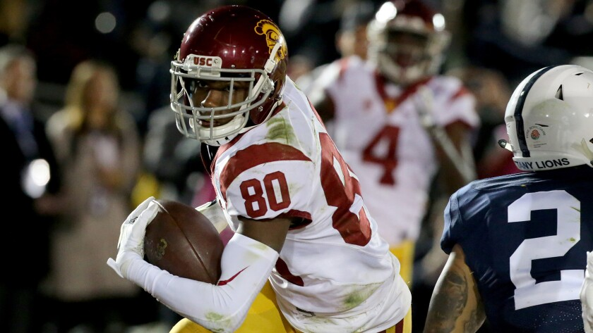 USC wide receiver Deontay Burnett makes a touchdown catch against Penn State in the fourth quarter.