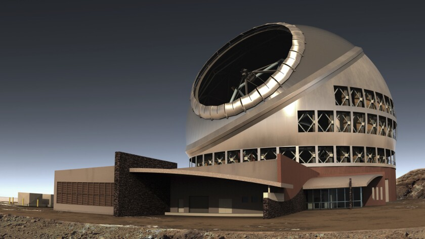FILE - This undated file illustration provided by Thirty Meter Telescope (TMT) shows the proposed gi
