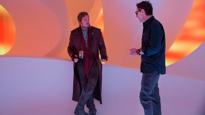 Marvel's Guardians Of The Galaxy Vol. 2..L to R: Chris Pratt (Star-Lord) and Director James Gunn on