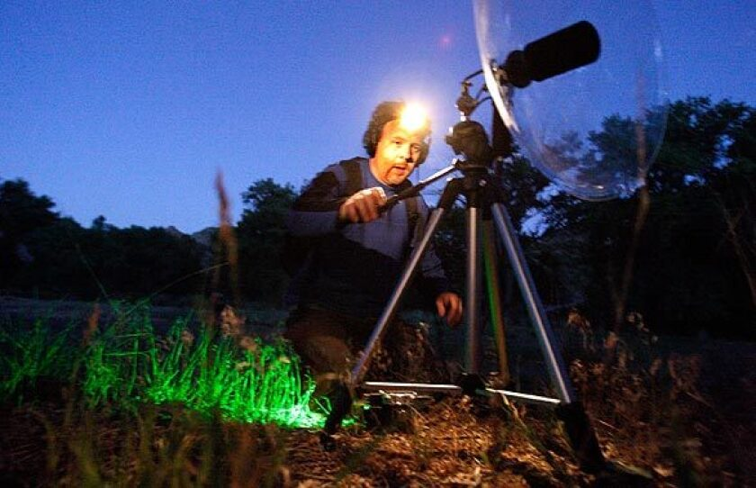 University of Utah researcher Jeff Rice sets up sound-recording equipment in the early-morning hours at Range Creek. > > > Audio slide show