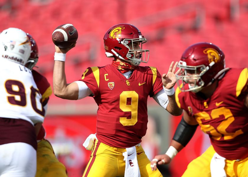 USC quarterback Kedon Slovis passes during the first half of a 28-27 win over Arizona State on Saturday.
