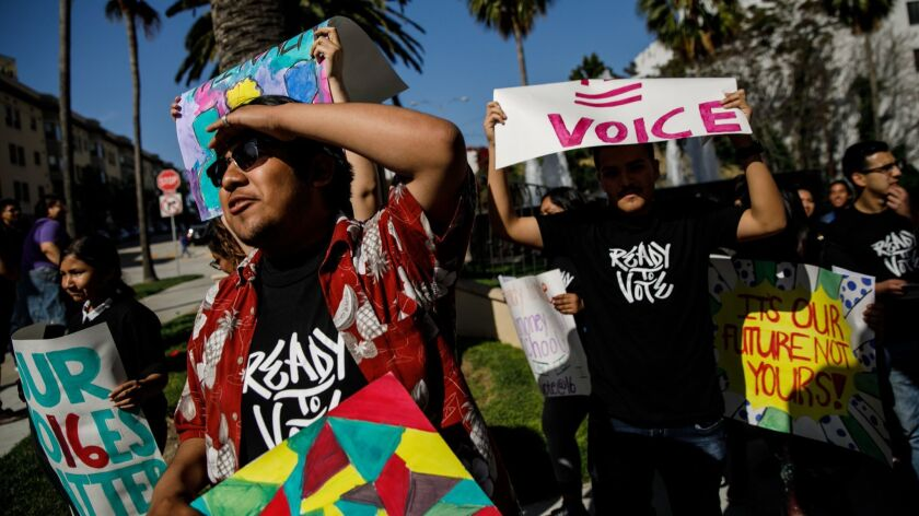 LOS ANGELES, CALIF. -- TUESDAY, APRIL 23, 2019: LAUSD students rally outside LAUSD headquarters in c