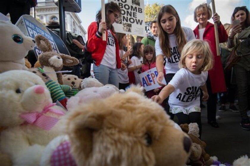 Una protesta en Londres contra los bombardeos en la ciudad siria de Alepo, el 22 de octubre del 2016.