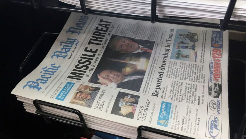 A copy of the local newspaper for sale in Hagatna, Guam on Aug. 10.