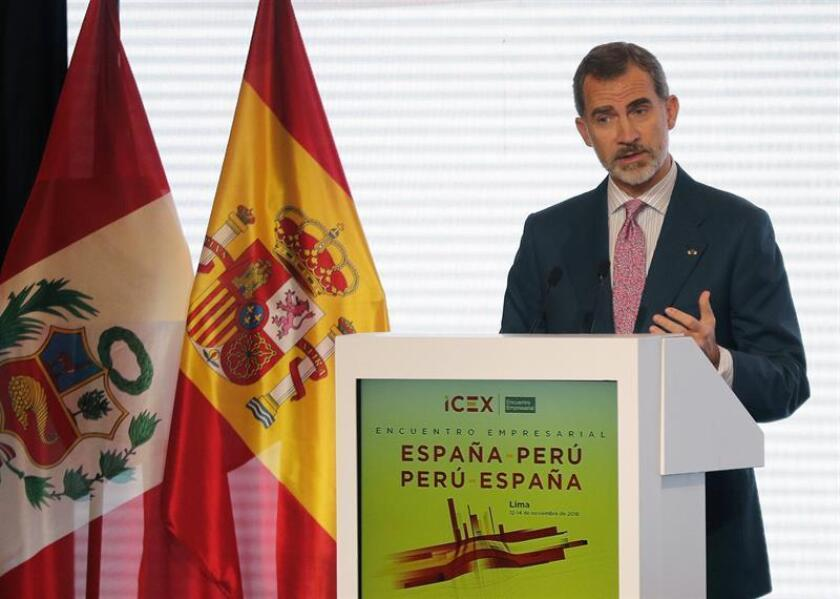 Spain's king says Tuesday, Nov. 13, 2018, at a meeting of Spanish and Peruvian companies in Lima, that Spanish companies continue to strengthen their strong commitment to Peru considering the great expectations it creates for both economies. EFE-EPA/Lavandeira Jr.