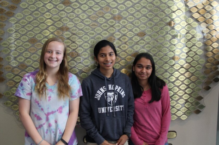 Alina Pollner, Rachana Madhukara and Ruchi Agashe were all top winners at the Greater SD Science and Engineering Fair. Courtesy photo