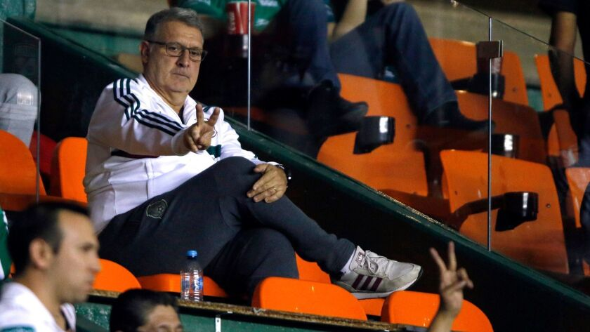 Mexico's national football team coach Tata Martino gestures during a match between Leon and Santos in Mexico on March 2.