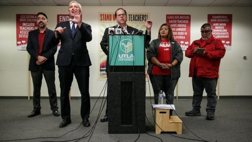 UTLA President Alex Caputo-Pearl announces the vote by teachers to accept the contract offer by the LAUSD on Jan. 22.