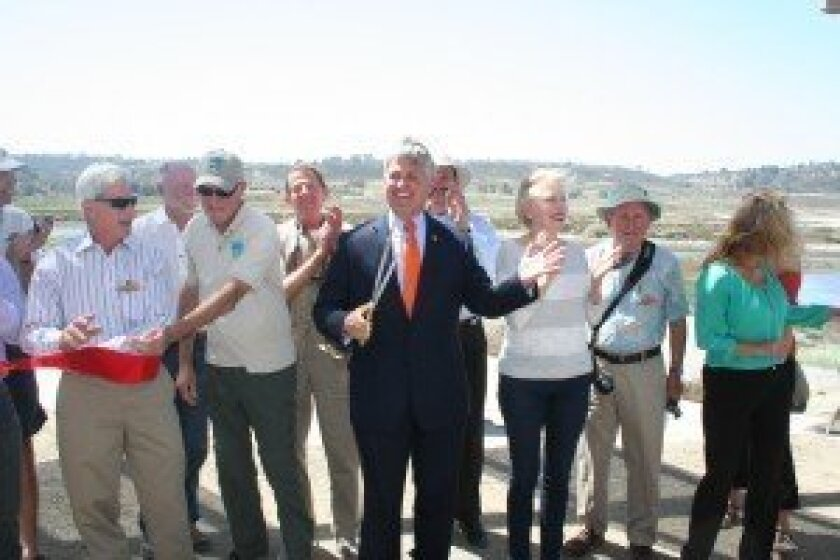 Elected officials and community members gathered May 13 to celebrate the grand opening of the new Birdwing Open Air Classroom along the San Dieguito Lagoon. Photo/Kristina Houck