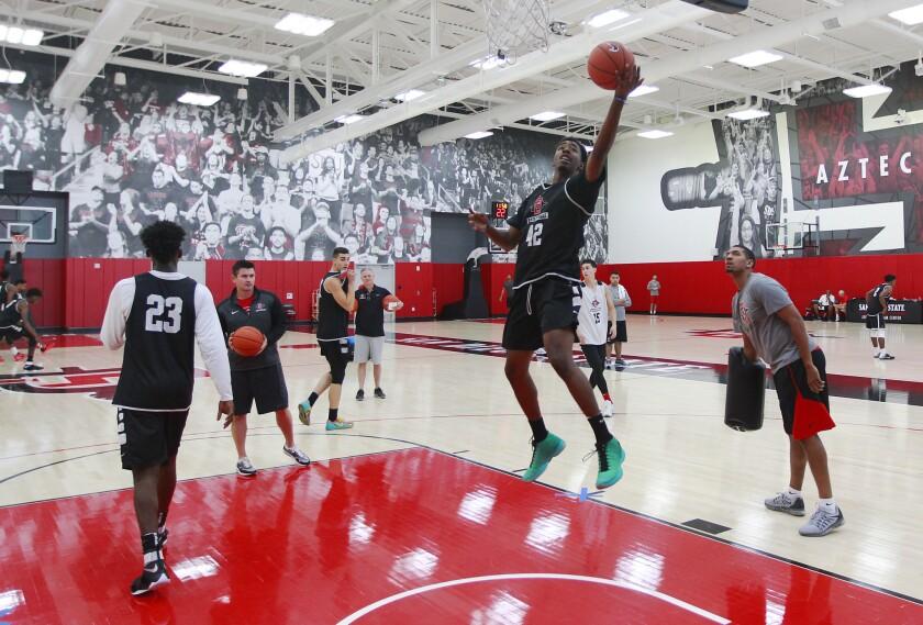 San Diego State University basketball player Jeremy Hemsley practices on Monday, Oct. 3, 2016. Photo by K.C. Alfred