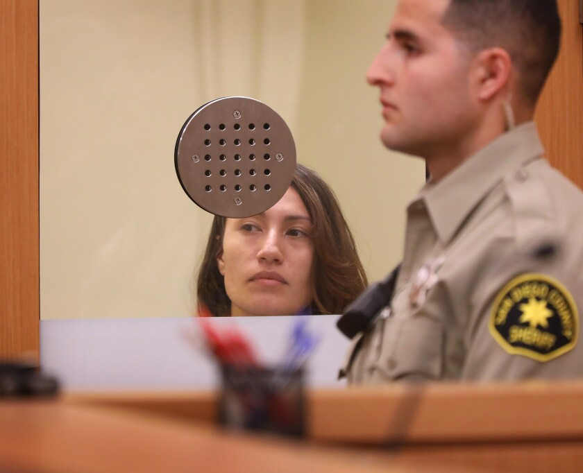 Anna Conkey is arraigned in 2019 on charges stemming from threats to shoot churchgoers, blow up Tsidkenu Church in Clairemont