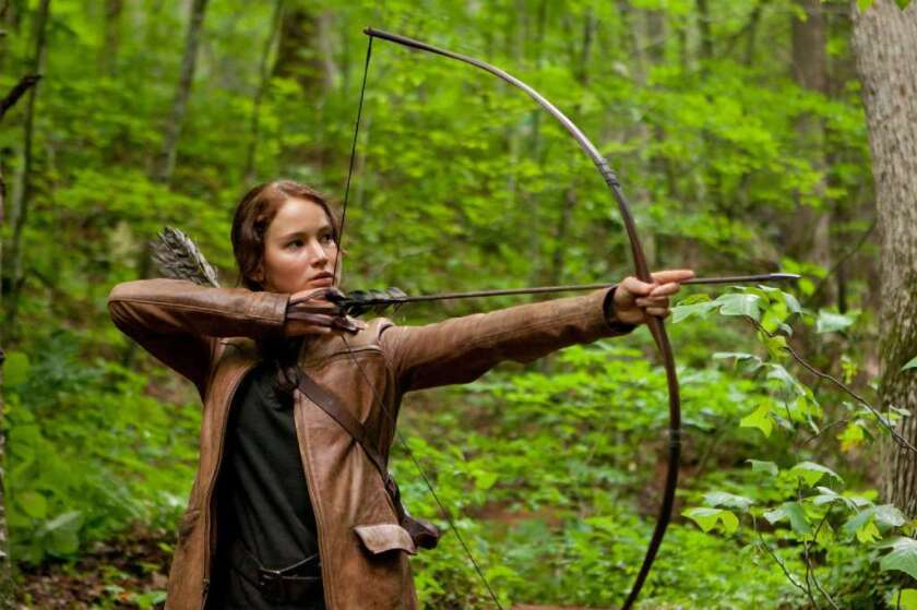 "Jennifer Lawrence plays Katniss Everdeen in ""The Hunger Games."""