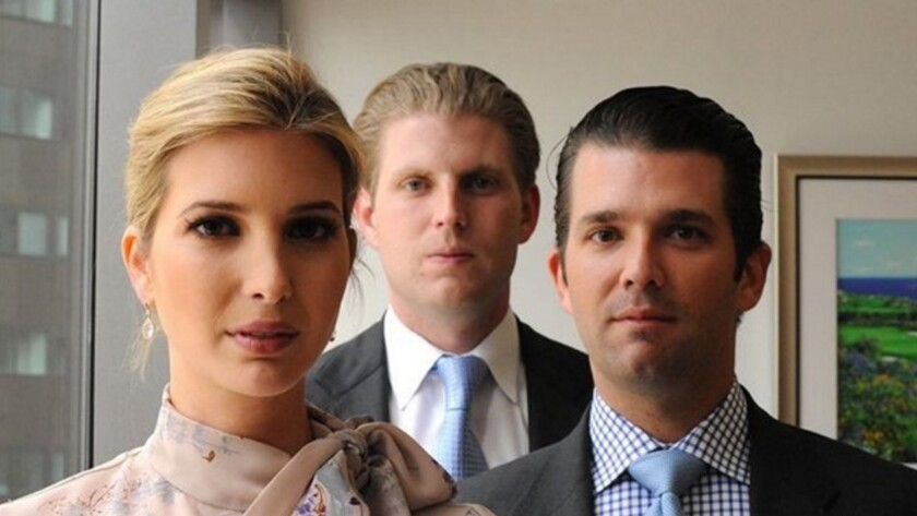 Tax-exempt heirs? Ivanka, Eric and Donald Trump Jr., whose father wants to reduce the estate tax to zero.