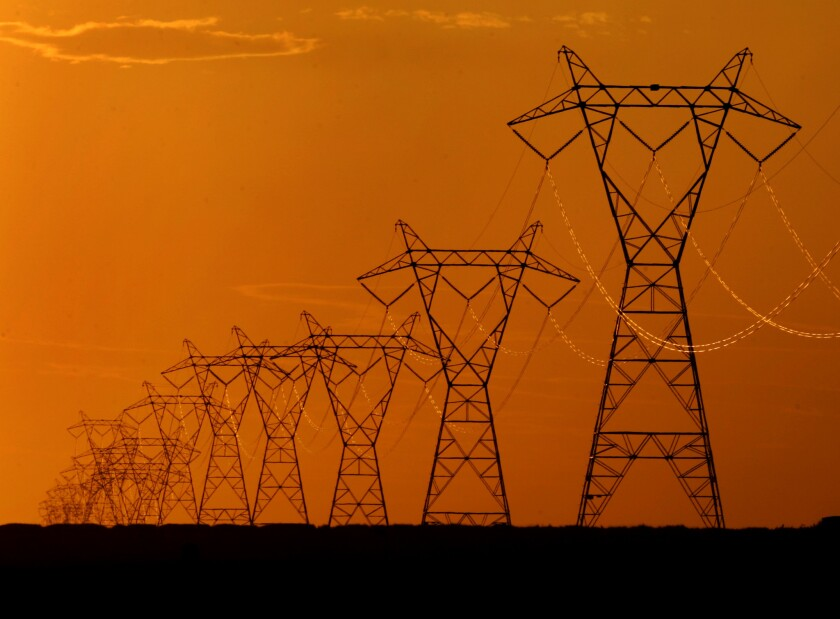 Transmission lines carry wind power across the Midwest.