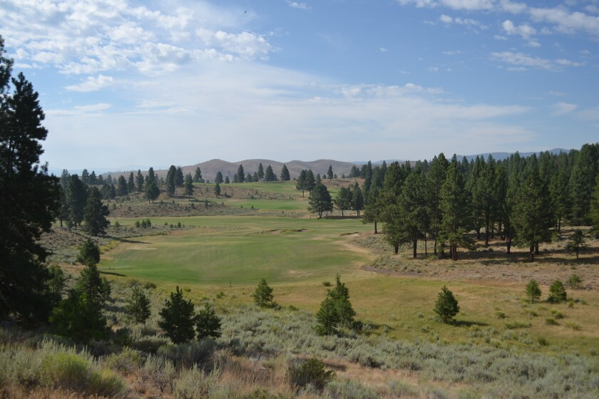 The reverisble golf courses at Silvies Valley Ranch are set in the hills of eastern Oregon.