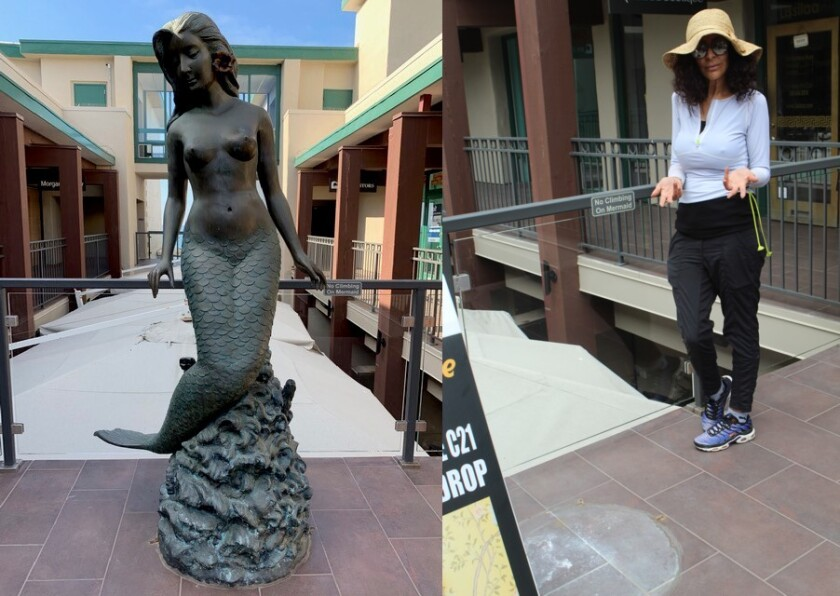 At left, the mermaid statue at 1250 Prospect St. — a tourist magnet for 30 years — disappeared on Aug. 12 and Jalila Lissilaa, owner of the adjacent Lissilaa Boutique, doesn't understand why.