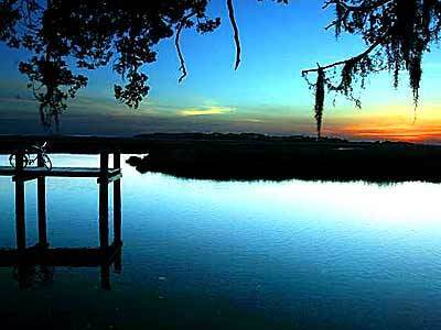 Sun sets over the marshlands.