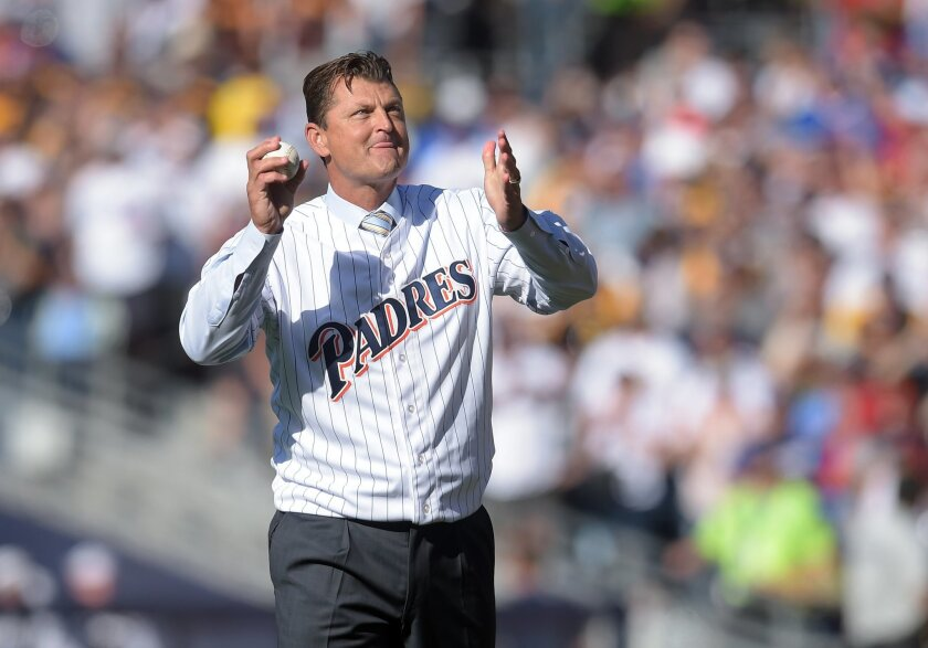 Jul 12, 2016; San Diego, CA, USA; San Diego Padres former closer Trevor Hoffman throws out the ceremonial first pitch before the 2016 MLB All Star Game at Petco Park. Mandatory Credit: Gary A. Vasquez-USA TODAY Sports ** Usable by SD ONLY **