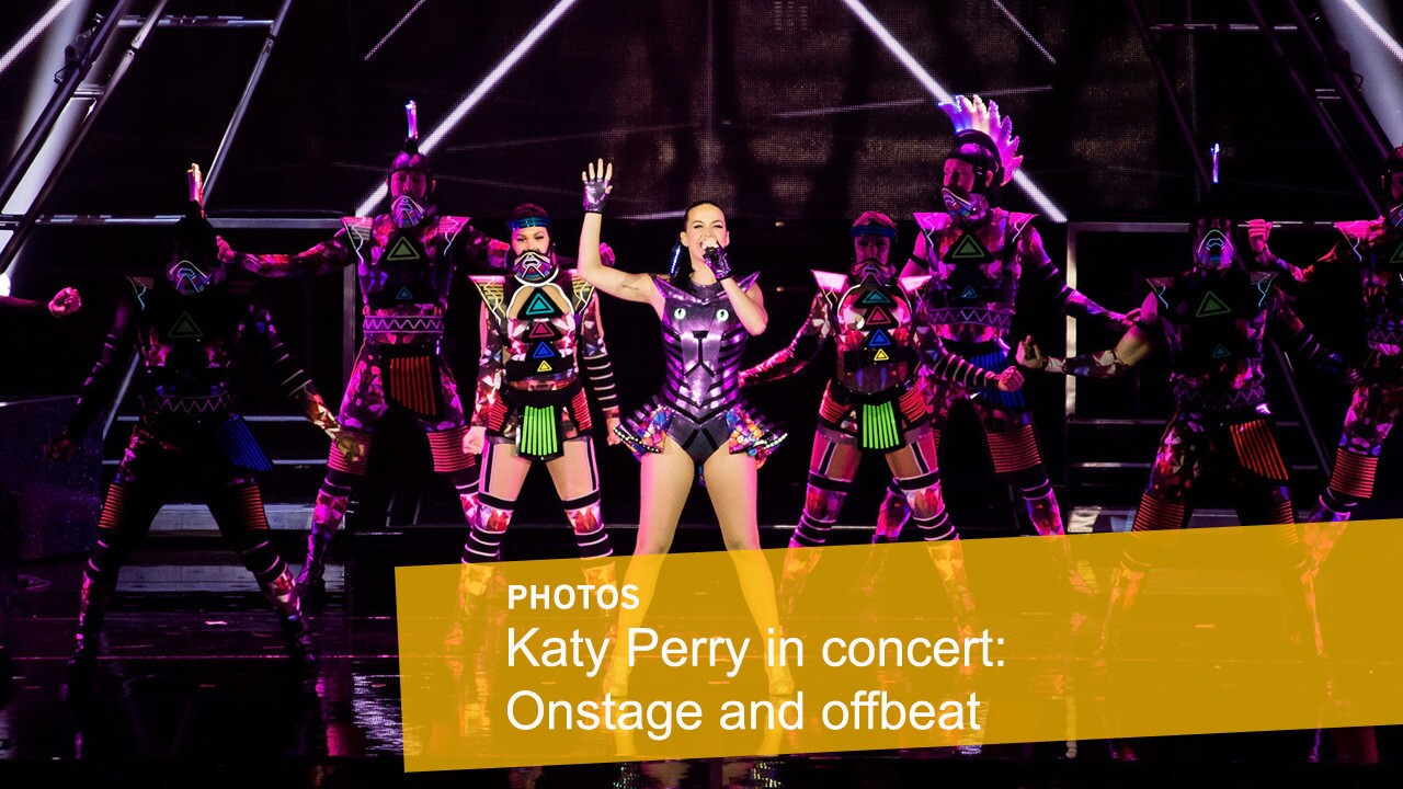 """Katy Perry gets futuristic for her audience during her """"Prismatic"""" world tour concert at Cotai Arena Macau, China."""