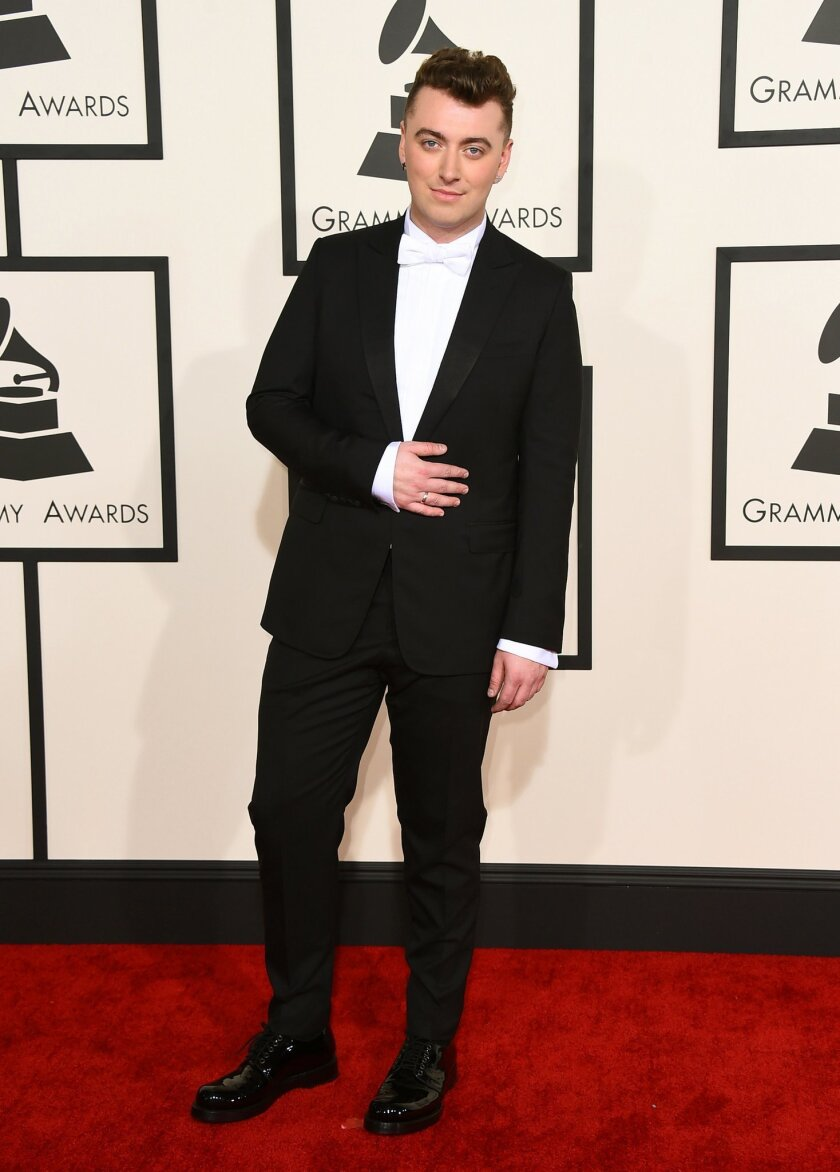Sam Smith arrives at the 57th annual Grammy Awards at the Staples Center on Sunday, Feb. 8, 2015, in Los Angeles. (Photo by Jordan Strauss/Invision/AP)