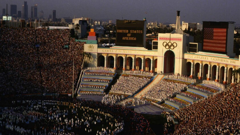 The Los Angeles Memorial Coliseum was the site of the opening ceremony for the 1984 Summer Olympic Games.