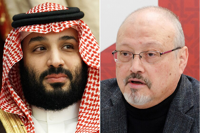 Side-by-side closeups of the Saudi crown prince and the slain journalist.
