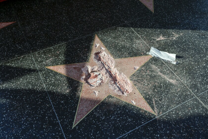 Last October a man took a sledgehammer and vandalized Donald Trump's star on the Hollywood Walk of F