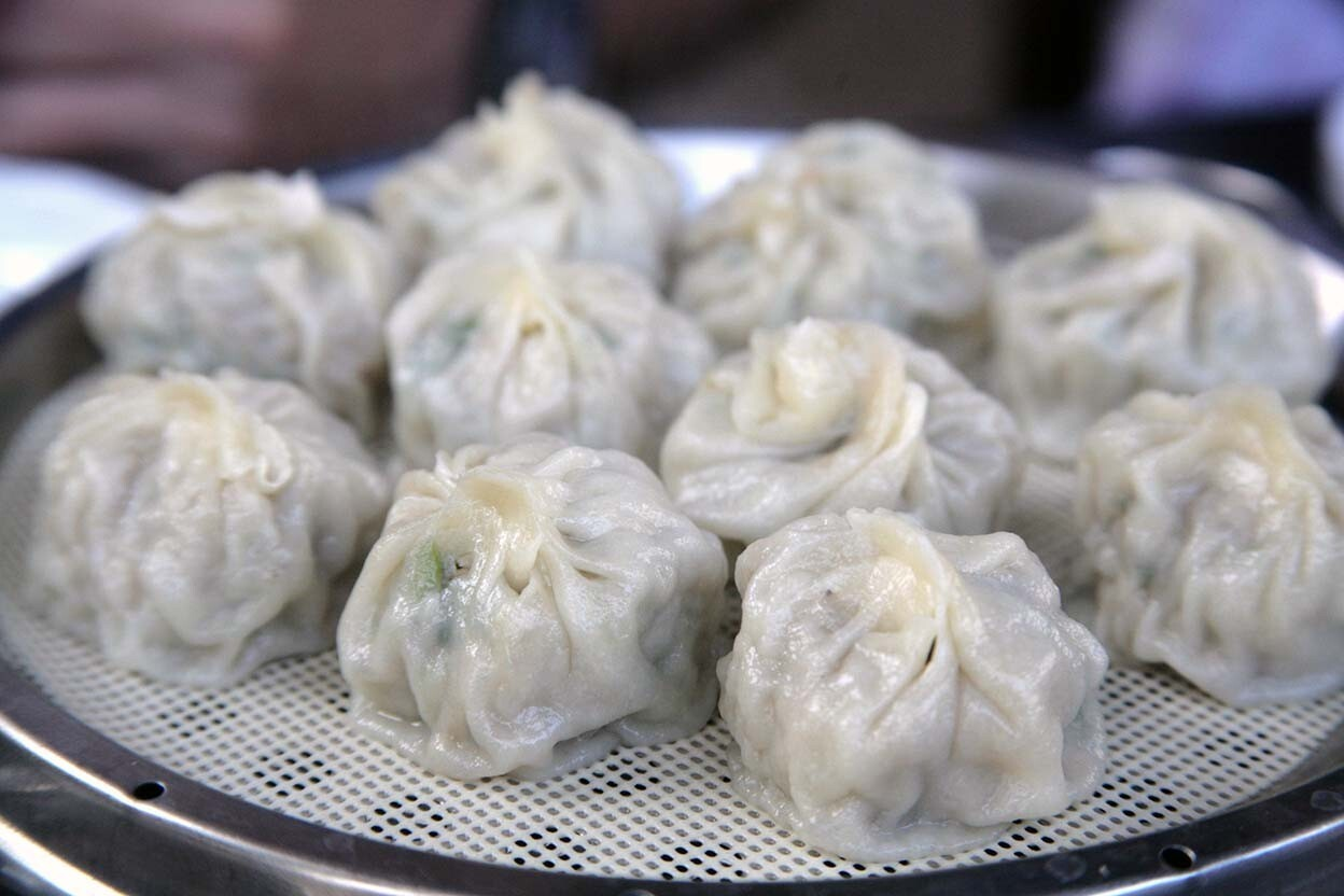 Cho Man Won's yachae mandu are filled with meat and vegetables in a bite-sized package.