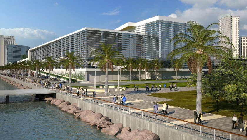 Rendering of bayside view of an already approved expansion of the San Diego Convention Center that would be funded by the proposed initiative.