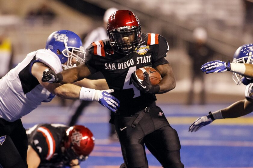 San Diego State running back Adam Muema (4) runs the ball during the second half of the Famous Idaho Potato Bowl.