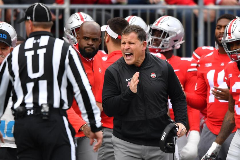 Ohio State defensive Coordinator Greg Schiano talks with an official during the second quarter of a game Oct. 13, 2018 against Minnesota at Ohio Stadium.
