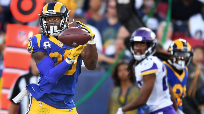 LOS ANGELES, SEPTEMBER 27, 2018-Rams runing back Todd Gurley catches a touchdown pass against the Vi