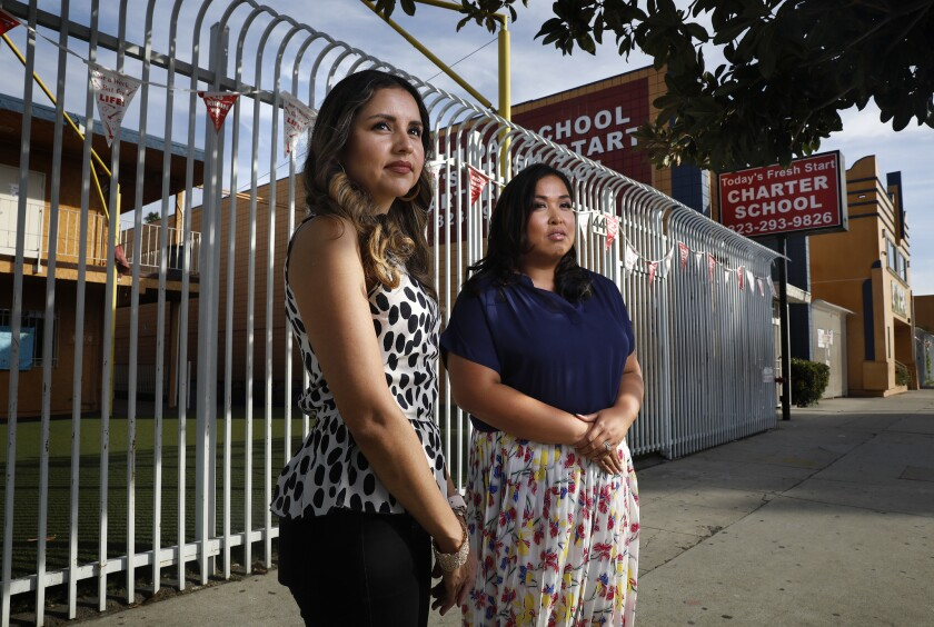 LOS ANGELES-CA-NOVEMBER 4, 2018: Yanin Ardila, left, and Denise Kawamoto, two former teachers at Tod