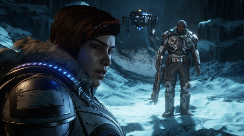 "Characters Kait Diaz and Del Walker in ""Gears 5."""