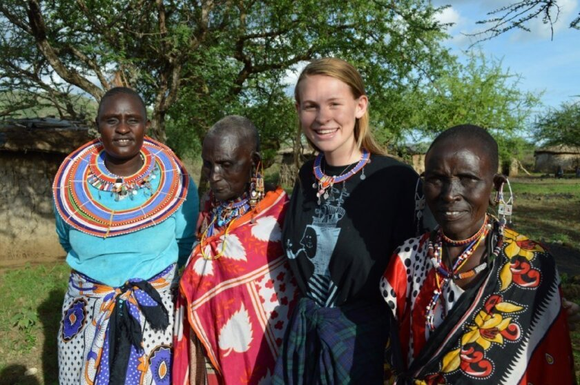 Shannon Yogerst with Masi women in their village at Tsavo West.