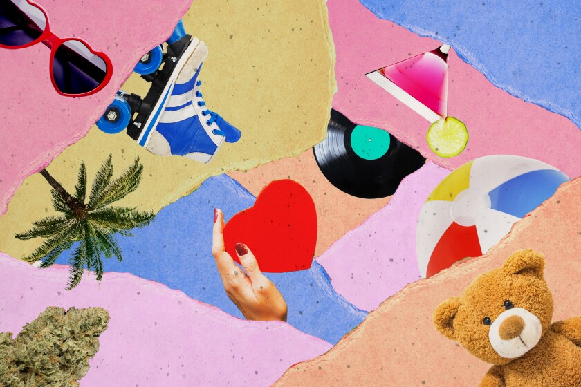 A photo collage with a heart, a teddy bear, sunglasses and a roller skate.