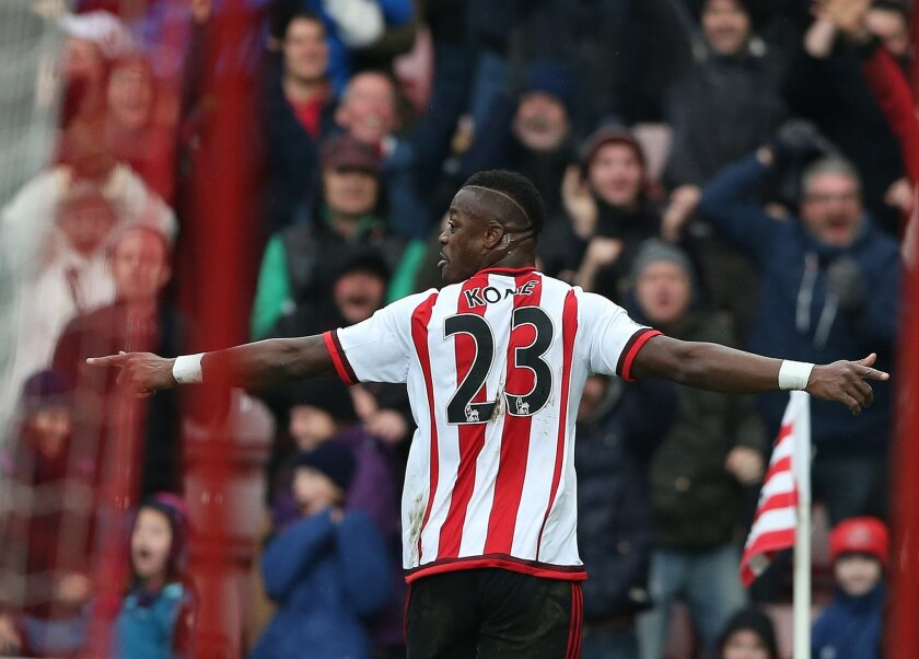 Sunderland's Lamine Kone celebrates his goal during the English Premier League soccer match between Sunderland and Manchester United at the Stadium of Light, Sunderland, England, Saturday, Feb. 13, 2016. (AP Photo/Scott Heppell)