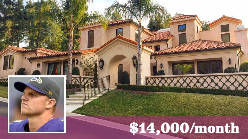 NFL quarterback Jimmy Clausen has put an investment property in the Westlake Village area up for lease at $14,000 a month.