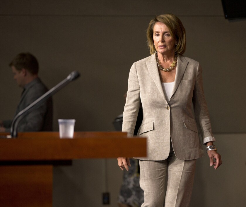 House Minority Leader Nancy Pelosi of California on Thursday. Just 25 Democrats voted with Republicans to register House disapproval of the deal with Iran.