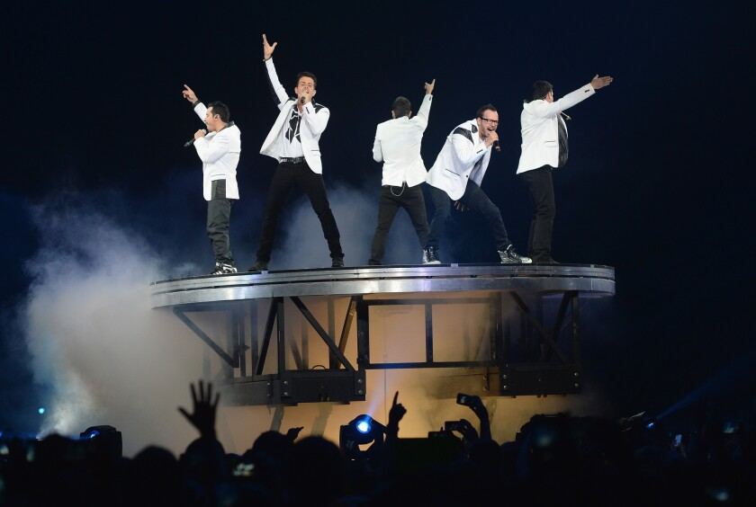 New Kids on the Block performed Friday night at Staples Center as part of the Package Tour with 98 Degrees and Boyz II Men.