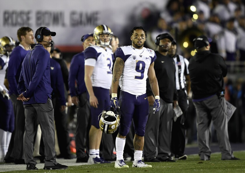 Washington's Myles Gaskin looks on during the second half of the Huskies' 28-23 loss to Ohio State in the Rose Bowl game Jan. 1 in Pasadena.