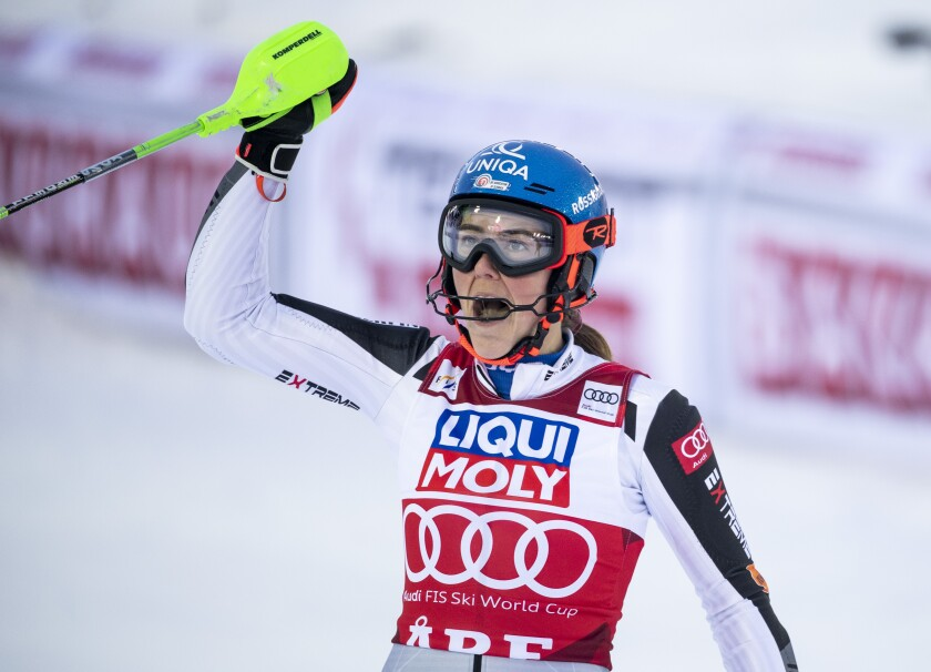 Petra Vlhova of Slovakia reacts after winning the women's slalom race of the FIS Ski Alpine World Cup in Are, Sweden, Friday, March 12, 2021. (Pontus Lundahl/TT News Agency via AP)