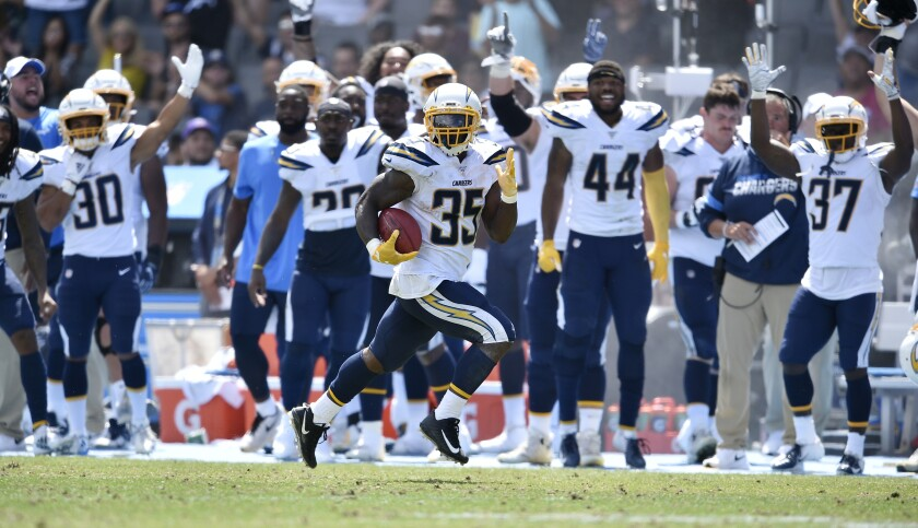 Chargers running back Troymaine Pope returns a punt for a touchdown during Sunday's preseason victory over the Saints.