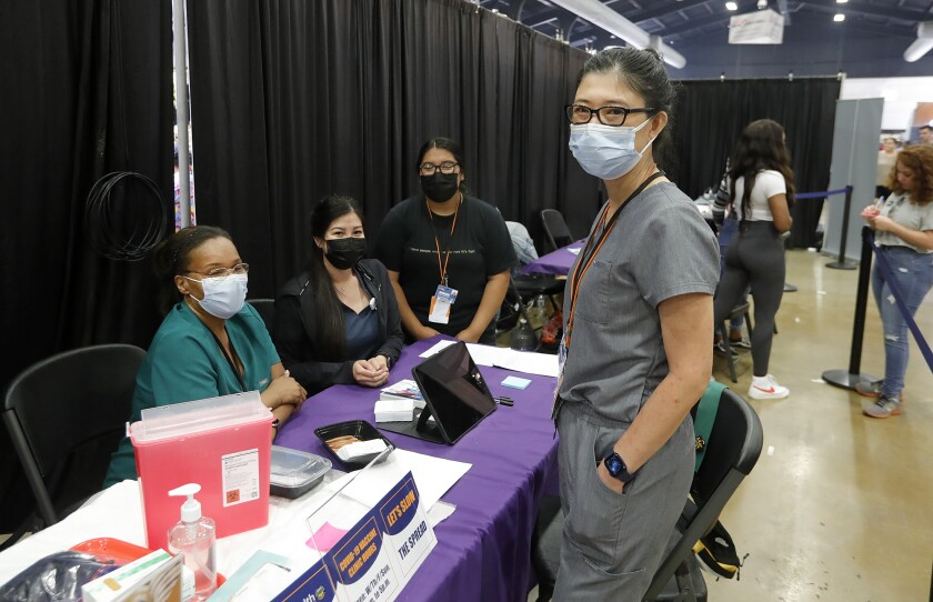 Healthcare workers at vaccination site