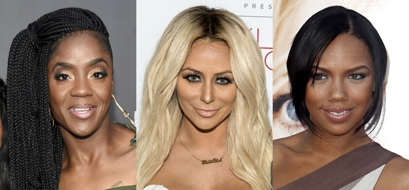 """This combination of photos shows Pamela Long, from left, Aubrey O'Day and Kiely Williams who will participate in the reality show """"BET Presents The Encore"""" premiering on June 9. The show includes eight singers who are former members of groups who had success in the '90s and 2000s, as well as Grammy-nominated R&B singer Nivea. In the 10-episode series, the singers will live together for 30 days to record an album at a home studio, learn choreography and practice vocals. (AP Photo)"""