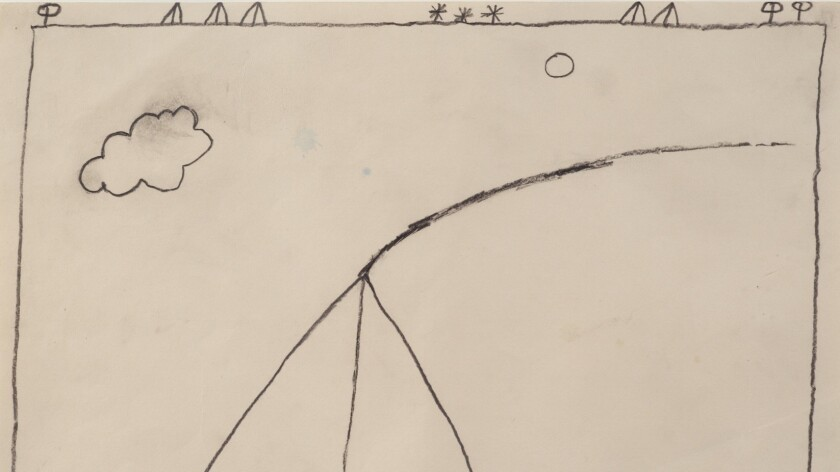"""Detail of Bob Law's """"Drawing 17.5.59,"""" shown in full frame below."""