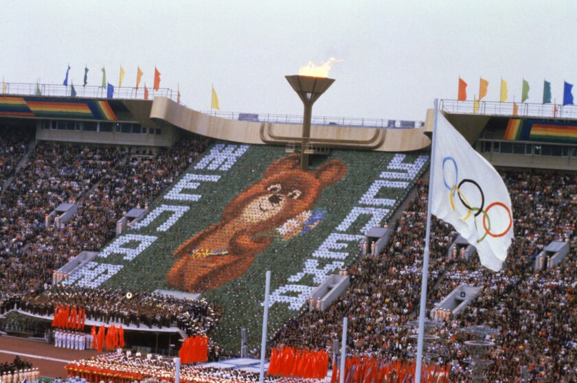 Opening ceremony for the 1980 Summer Olympic Games in Moscow, which were boycotted by the U.S. over Russia's invasion of Afghanistan.